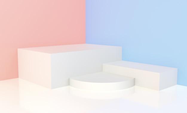 Weißes podium mit rosa und blauem hintergrund für anzeige Premium Fotos