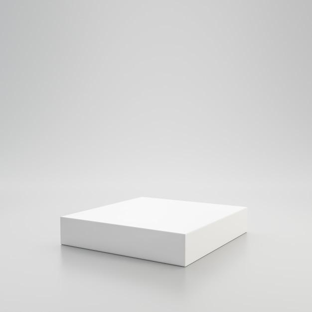 Weißes schaufensterpodest oder produktanzeige auf weißem hintergrund mit sockelständerkonzept. stehender hintergrund des leeren produktregals. 3d-rendering. Premium Fotos