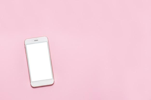 Weißes smartphone-handy mit weißem bildschirm Premium Fotos