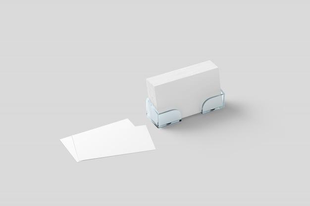 Weißes visitenkartemodell in der acrylhalterung lokalisiert Premium Fotos