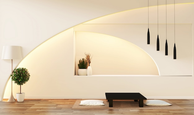 Weißes wohnzimmer der modernen zenart. ruhiges und ruhiges wohnzimmer. Premium Fotos