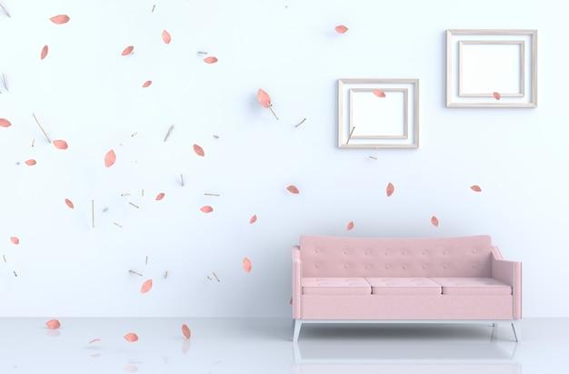 Weißes wohnzimmer mit bilderrahmen, schlagrosablätter Premium Fotos
