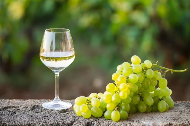 Weißwein im glas und eine weiße weintraube Premium Fotos