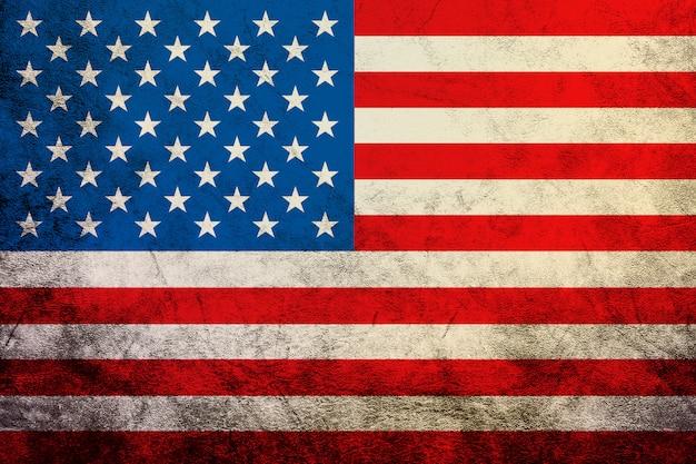 Wellenartig bewegende beschaffenheit der weinlese amerikanischen flagge vereinigte staaten von amerika, hintergrund Premium Fotos