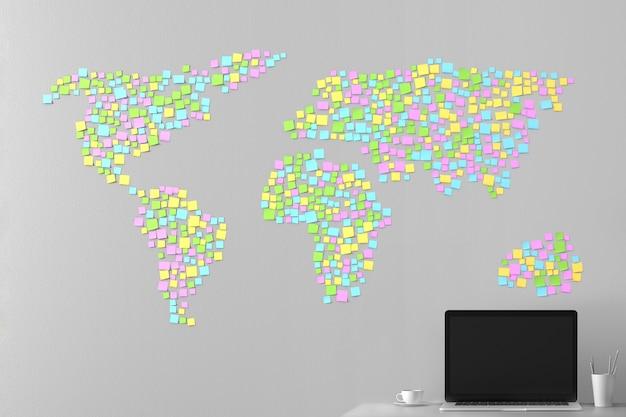 Weltkarte aus den aufklebern an der wand Premium Fotos