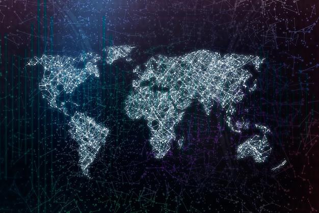 Weltkarte mit punkten und linien, weltweites digitales kommunikationsnetz oder -netz Premium Fotos