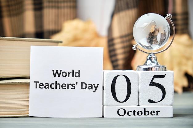 Weltlehrertag des herbstmonats kalender oktober. Premium Fotos