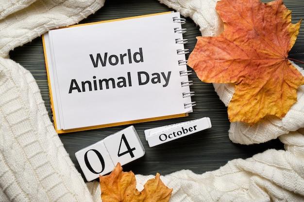 Welttiertag des herbstmonats kalender oktober. Premium Fotos