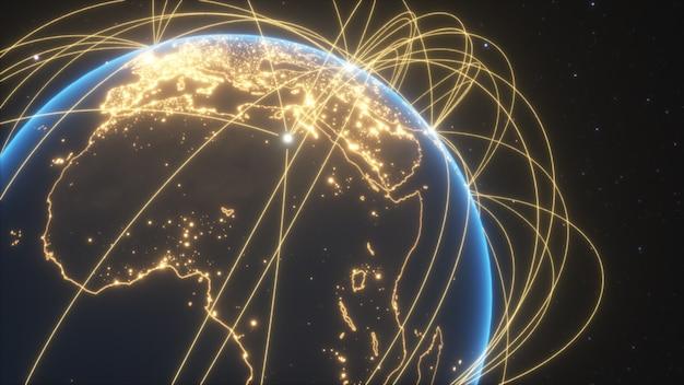 Weltverbindungen mit stadtlichtern Premium Fotos