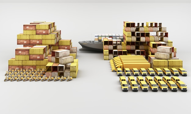 Weltweiter frachtcontainertransport Premium Fotos