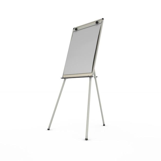 Werbeständer oder staffelei isoliert auf weiß. 3d-renderillustration. Premium Fotos