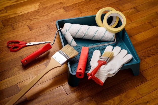 Werkzeuge für die innenanstrich Premium Fotos