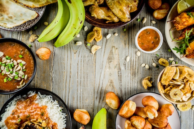Westafrikanisches essenssortiment Premium Fotos