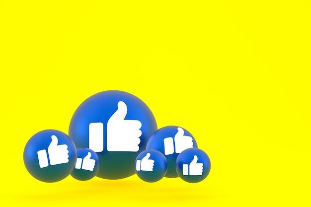 Wie symbol facebook reaktionen emoji rendern, social media ballon symbol auf gelbem hintergrund Premium Fotos