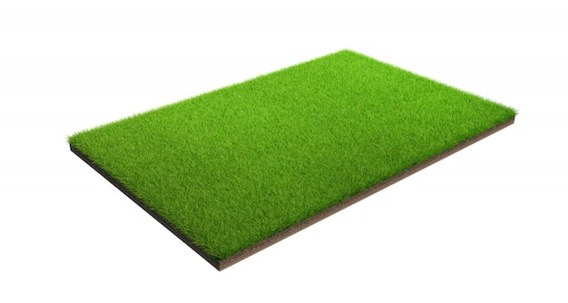 Wiedergabe 3d der grünen rasenfläche lokalisiert auf einem weißen hintergrund mit beschneidungspfad. sportplatz. Premium Fotos