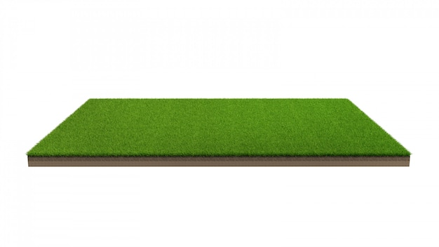 Wiedergabe 3d der grünen rasenfläche lokalisiert. Premium Fotos