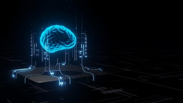 Wiedergabe 3d der hardware der künstlichen intelligenz. Premium Fotos