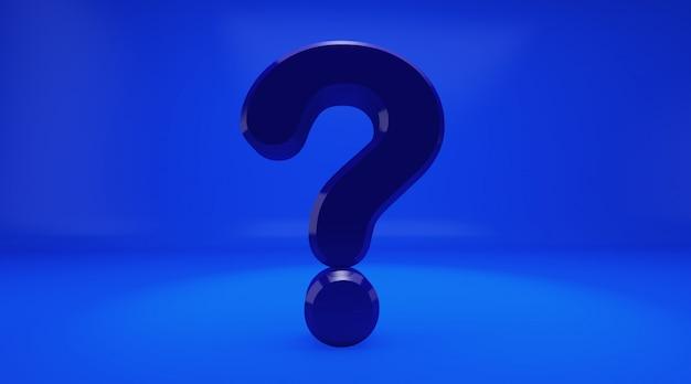 Wiedergabe 3d des bleu fragezeichen auf blauem hintergrund. ausrufezeichen und fragezeichen Premium Fotos