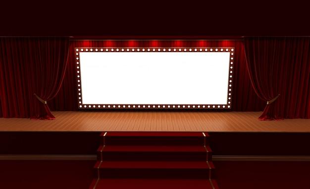 Wiedergabe 3d des hintergrundes mit einem roten vorhang und einem scheinwerfer. festivalnacht-showplakat. Premium Fotos