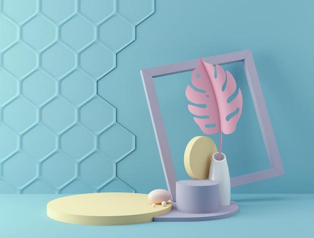 Wiedergabe 3d des pastellfarbhintergrundes mit einem designpodium für anzeige in der unbedeutenden artszene. Premium Fotos