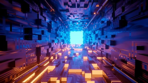 Wiedergabe 3d des realistischen sciencefictionraumschiffs Premium Fotos