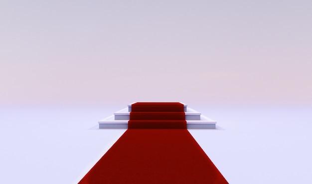 Wiedergabe 3d des roten ereignisteppichs mit der treppe am ende lokalisiert auf einem weißen hintergrund. Premium Fotos