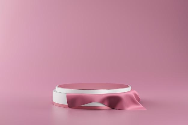 Wiedergabe 3d des weißen und rosa podiums Premium Fotos