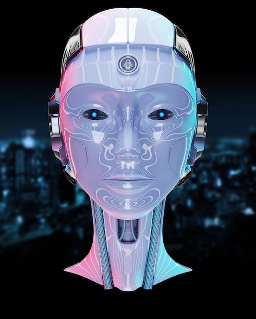 Wiedergabe der künstlichen intelligenz 3d des cyborgkopfes Premium Fotos