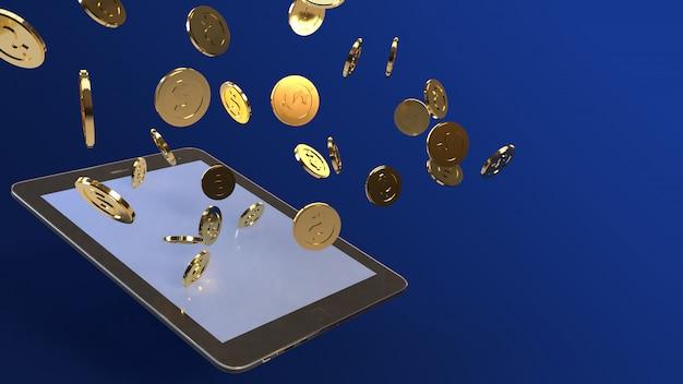Wiedergabe der tablet- und goldmünze 3d für geschäftsinhalt. Premium Fotos