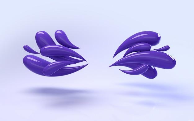 Wiedergabe des hintergrundes 3d von bunten flüssigen glänzenden purpurroten tropfen Premium Fotos
