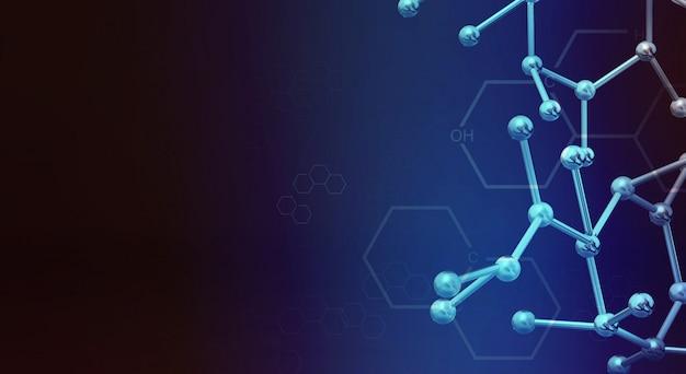 Wiedergabe des moleküls 3d für wissenschaftsinhalt. Premium Fotos