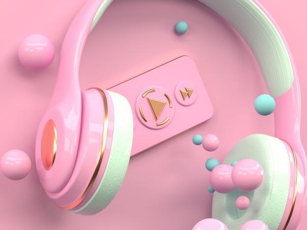 Wiedergabe des rosafarbenen goldkopfhörermusikunterhaltungstechnologie-konzeptes 3d Premium Fotos