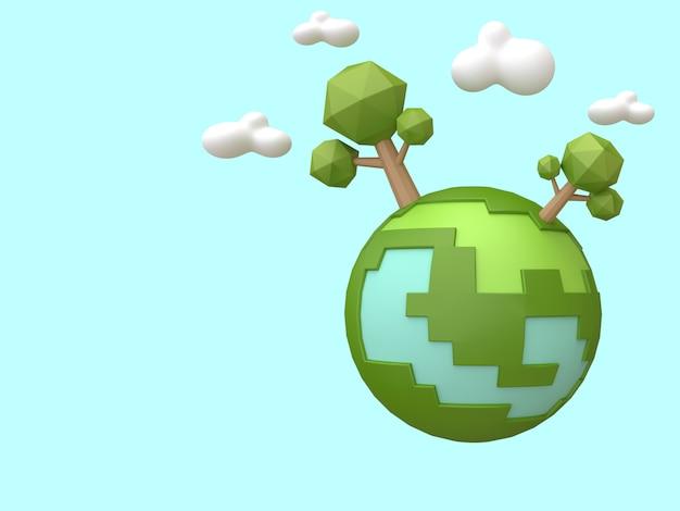 Wiedergabe-ökologie-umweltkonzept der grünen erdbäume niedrige polykarikaturart 3d Premium Fotos