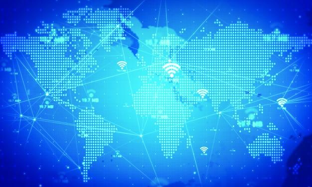 Wifi-symbol animieren hintergrund. netztechnologiekonzepte Premium Fotos
