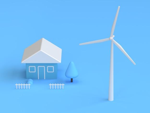 Windkraftanlagehaus der blauen abstrakten wiedergabe der szene 3d Premium Fotos