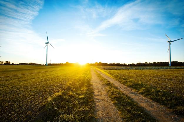 Windmühlen auf dem feld bei sonnenuntergang. Kostenlose Fotos
