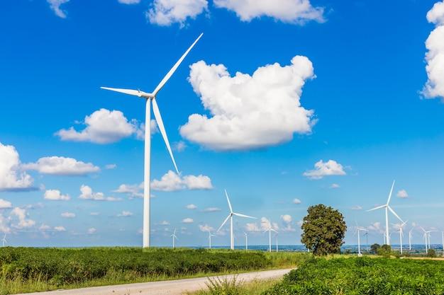 Windturbinebauernhof in der schönen natur mit dem blackground des blauen himmels, strom erzeugend Premium Fotos
