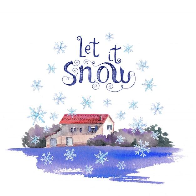 Winterdorfhaus in der ruhigen landschaft des schneefall aquarells und in der zitatbeschriftung Premium Fotos