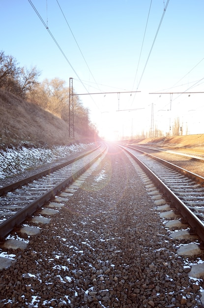 Wintereisenbahnlandschaft Premium Fotos