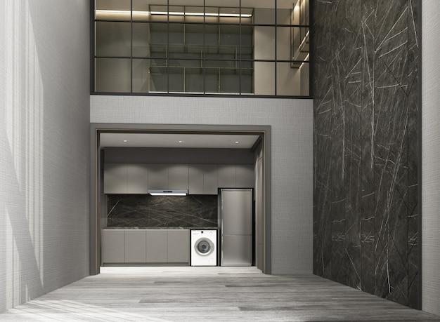 Wohn- und essbereich des doppelten raumes mit bretterboden- und marmormusterwand verzieren innen-wiedergabe 3d des zwischengeschossarbeitsbereichs Premium Fotos