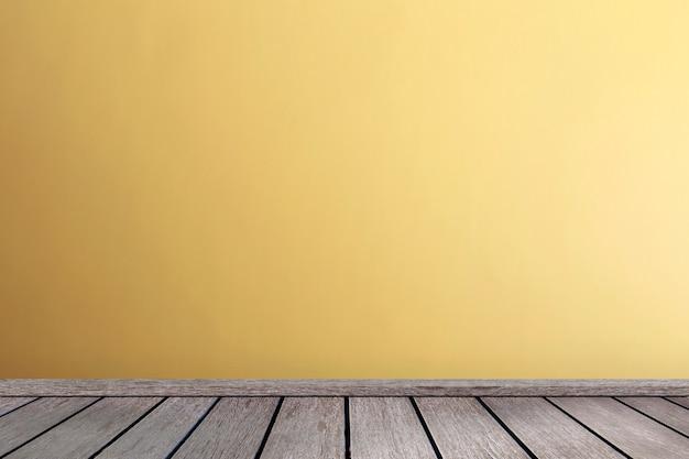 Wohnzimmer im gelb tont wandinnenparkettholzfußboden mit kopienraum Premium Fotos