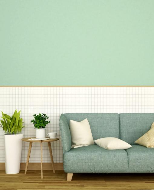 Wohnzimmer im haus oder in der wohnung auf weißer keramischer wand und grüner wand verzieren Premium Fotos