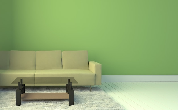 Wohnzimmer Innenraum Mit Gelbem Sofa Und Teppich, Hellblauer  Wandhintergrund. Premium Fotos