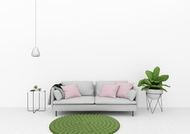 Wohnzimmer mit grüner dekoration Premium Fotos