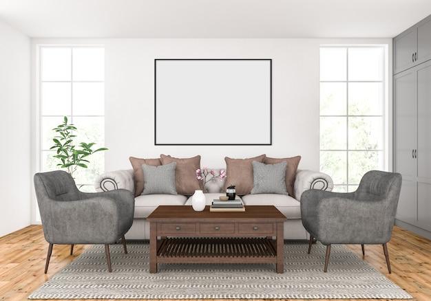 Wohnzimmer mit leerem horizontalem rahmenmodell Premium Fotos