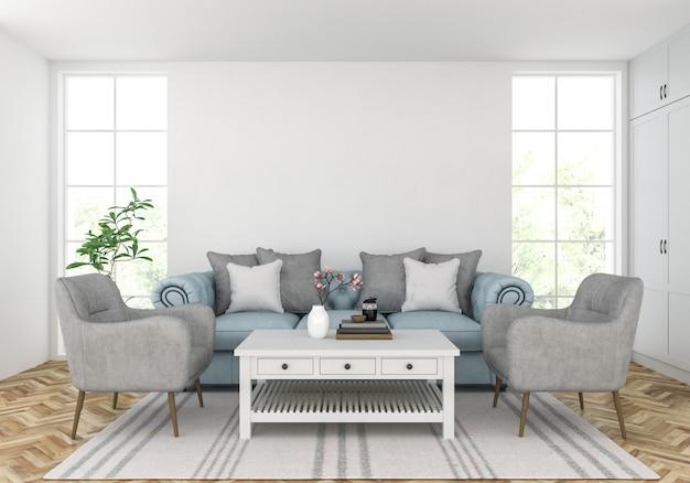 Wohnzimmer mit unbelegter wand, gestaltungsarbeitsbildschirmanzeige Premium Fotos