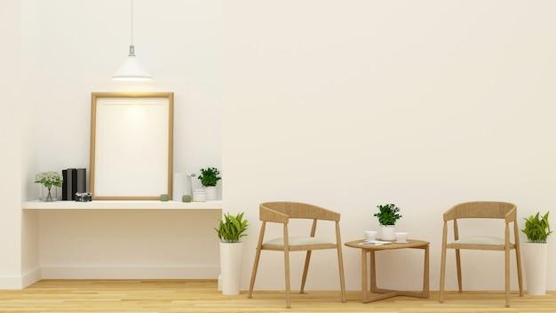 Wohnzimmer oder kaffeestube - wiedergabe 3d Premium Fotos