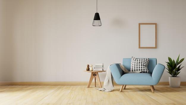 Wohnzimmerinnenraum mit blauem sofa des samts, tabelle. 3d-rendering. Premium Fotos