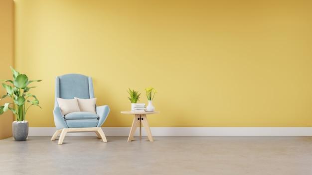 Wohnzimmerinnenraum mit gewebesessel, -buch und -anlagen auf leerem gelbem wandhintergrund. Premium Fotos