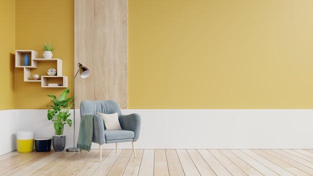Wohnzimmerinnenraum mit gewebesessel, lampe, buch und anlagen auf leerer gelber wand. Premium Fotos